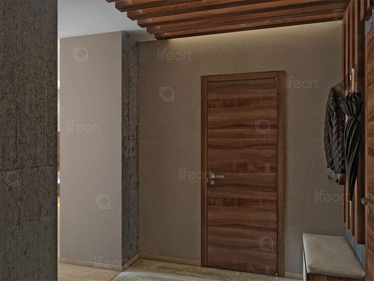 Приходая, современный стиль, двери орех, балки орех, декоративная штукатурка под бетон