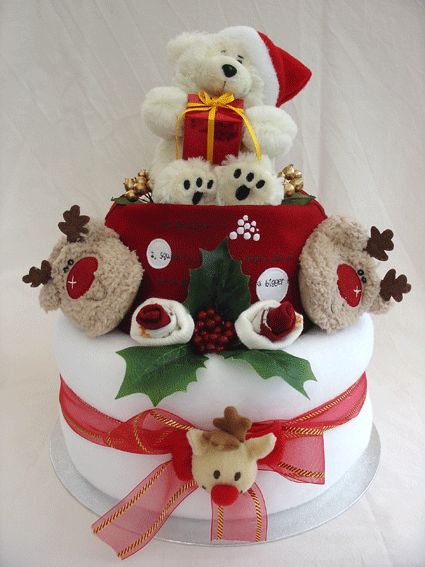 The 25 best nappy cakes ideas on pinterest girl diaper for Christmas cake gift