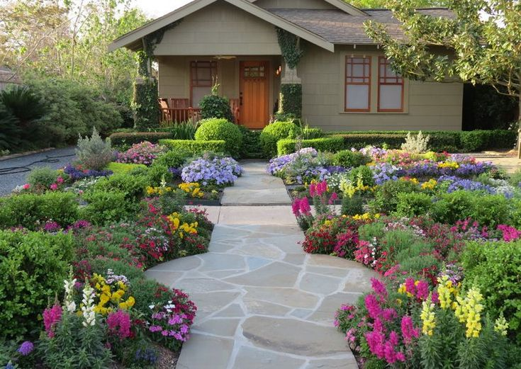 Flower Garden Designs Looks Beautiful Even For Your Front Yard Landcsape :  Gorgeous Flower Garden With Colorful Flower Green Plant Stones Walkway  Wooden ... Part 78