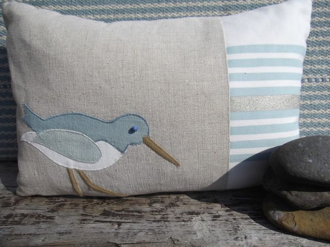 Handmade Oystercatcher Cushions with linen and wool £42.00