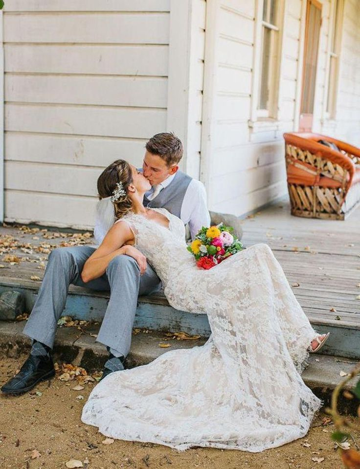 Country style wedding dresses ivory