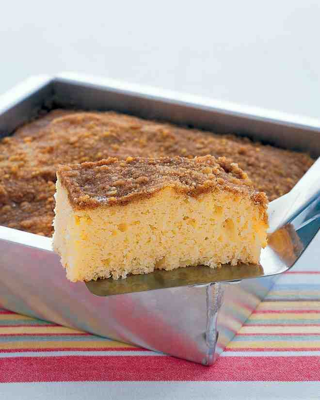 """Meaning """"something strewn"""" in Old German, streusel is easy to throw together -- and then to throw on top of this sour-cream coffee cake."""