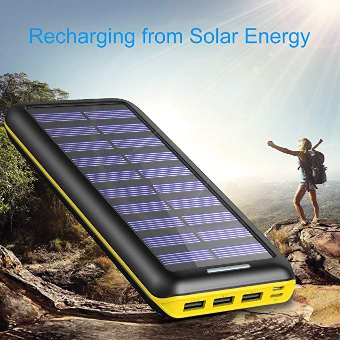 Amazon Com Solar Charger 24000mah Portable Charger Plochy Solar Power Bank Phone Charger With 3 Fast Char Solar Charger Solar Power Bank Solar Battery Charger