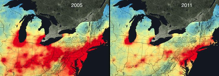 Satellite data from NASA, shown above, revealed a huge reduction in nitrogen dioxide pollution from cars, trucks, power plants, in the United States between 2005 and 2011.  Nitrogen dioxide is produced when gasoline gets burned in cars or coal gets burned in power plants. It's been linked to a variety of respiratory problems, and can combine with other pollutants to form smog. It's also a good proxy for pollution more generally