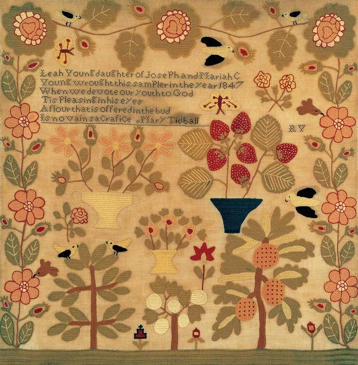 Leah Young (c. 1831–?)  Peters Township, Pennsylvania  1847  Wool and linen on linen   Amazing!!!1831, American Folk Art, Art Museums, Antique Textiles Wool, Young Sampler, Art Folk Art, Peter Township, Leah Young, Folkart Gathering