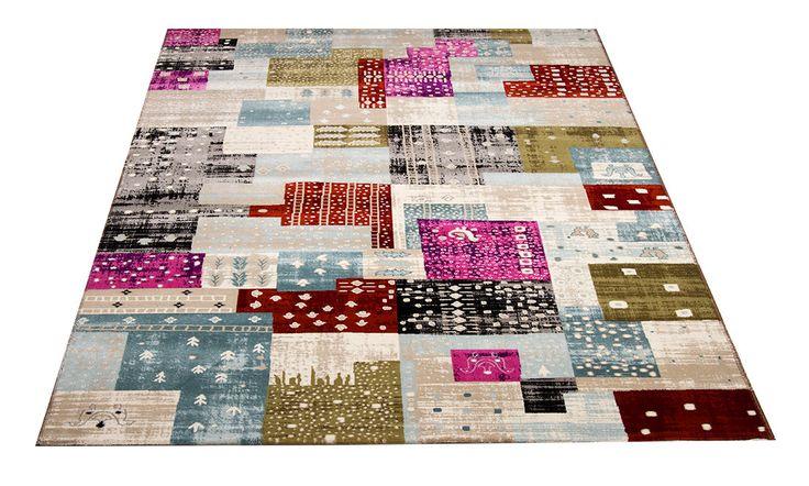 Royal-matto.  Multicolor. Kevyt, ohut ja tiheänukkainen patchwork matto. Helppohoitoinen kovaa kulutusta kestävä, vesipestävä, antistaattinen.