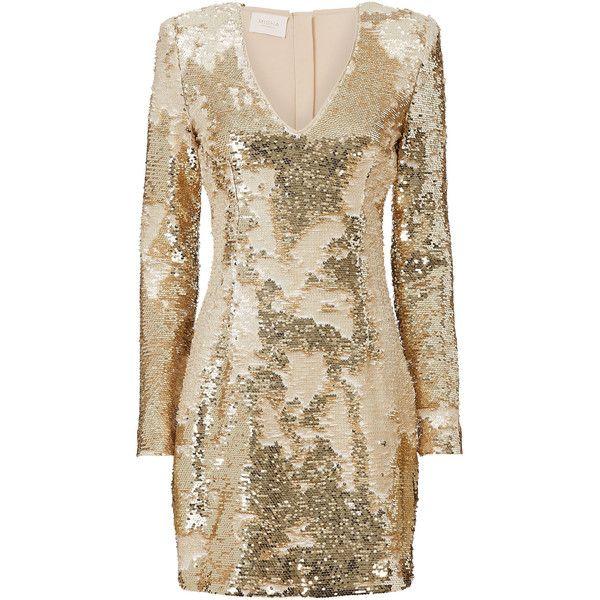 Misha Gold Sequin Mini Dress ($430) ❤ liked on Polyvore featuring dresses, brown mini dress, short gold dresses, gold sequin dress, yellow gold dress and sequin embellished dress
