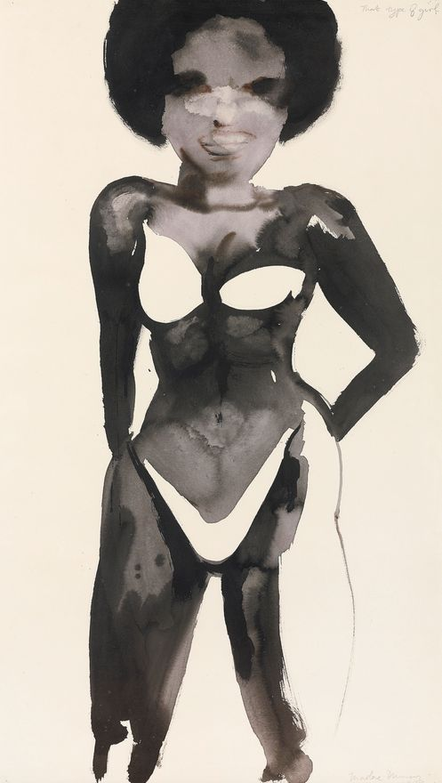 By Marlene Dumas (b.1953), 1989, That type of girl, Ink and watercolour on paper.