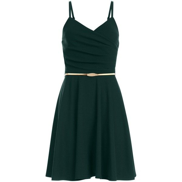 Dark Green Crepe Belted Skater Dress ($21) ❤ liked on Polyvore featuring dresses, vestidos, crepe fabric dress, belted dress, green dress, skater dresses and green color dress