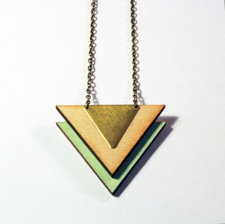 Wooden handmade necklace wood brass triangle laser cut color block two toned geometric tribal aztec retro mint chevron. kr105.00, via Etsy.