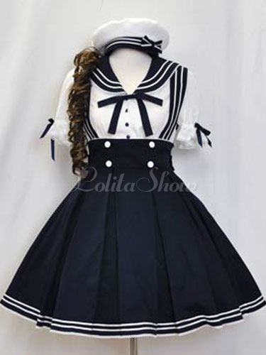 Lolitashow Sailor Lolita Outfits tiefblauen Kurzarm-Shirt mit Plissee Jumper Rock