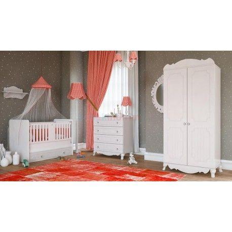 Babi Baby Carmen Mini Bebek Odası Takımı.  2 Kapaklı gardırop.   70 x 130 beşik.  Şifonyer.
