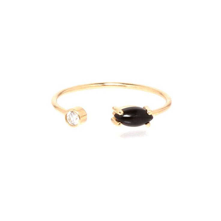 14k open onyx marquis diamond ring