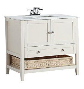 "Amazon.com: Simpli Home Cape Cod 36"" Bath Vanity with White Quartz Marble Top, Soft Wite: Home Improvement"