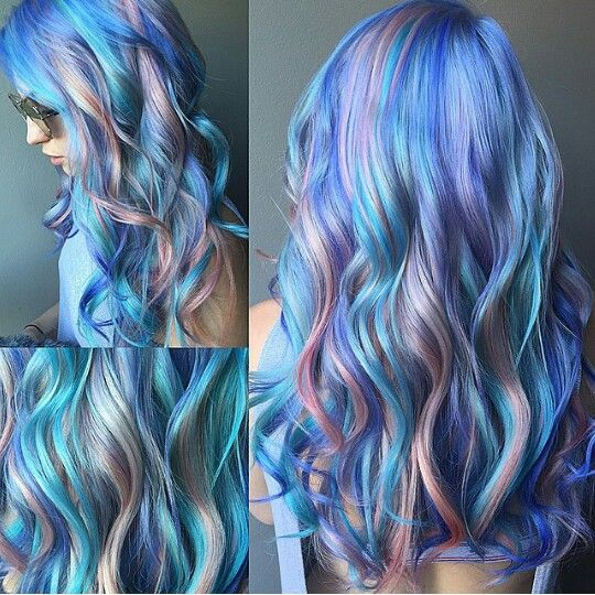 Blue, purple and pink pastel hair