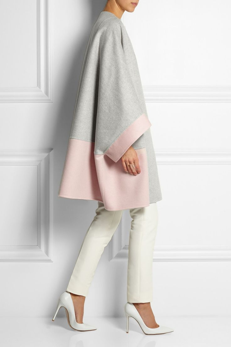 FENDI two-tone cashmere coat £2,870 | GUCCI cotton-blend piqué slim-leg pants £490 | GIANVITO ROSSI pumps £445