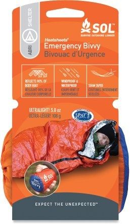 [Protect: Bivvy] SOL Emergency bivvy reflects up to 90% of your body's heat back to you. Bright orange exterior is easy to spot, even in bad weather. Measures 84 in. x 36 in. and is sized to shelter 1 adult. Waterproof, windproof material is seam taped for complete protection from the elements. $17