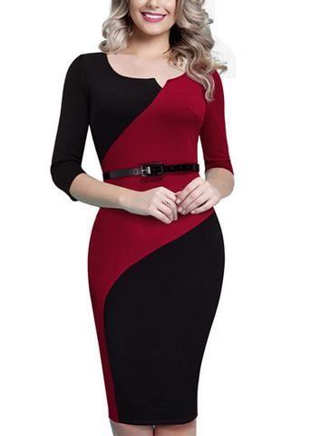 Vestido, fabricado em cotton com elastano. Modelo tubinho, de manga 3/4 e bicolor com detalhe em diferentes cores, que deixa um belo efeito de cintura fina.