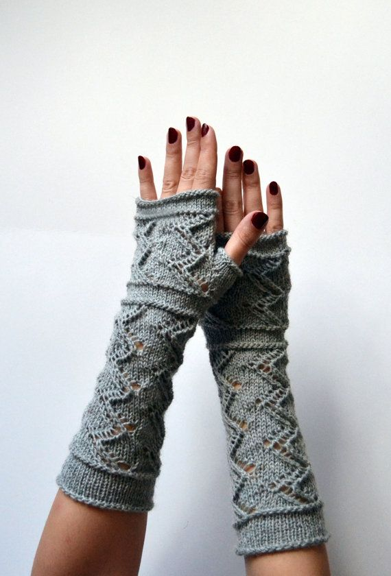 Grey Lace Knit Fingerless Gloves - Lace Fingerless Gloves - Fall