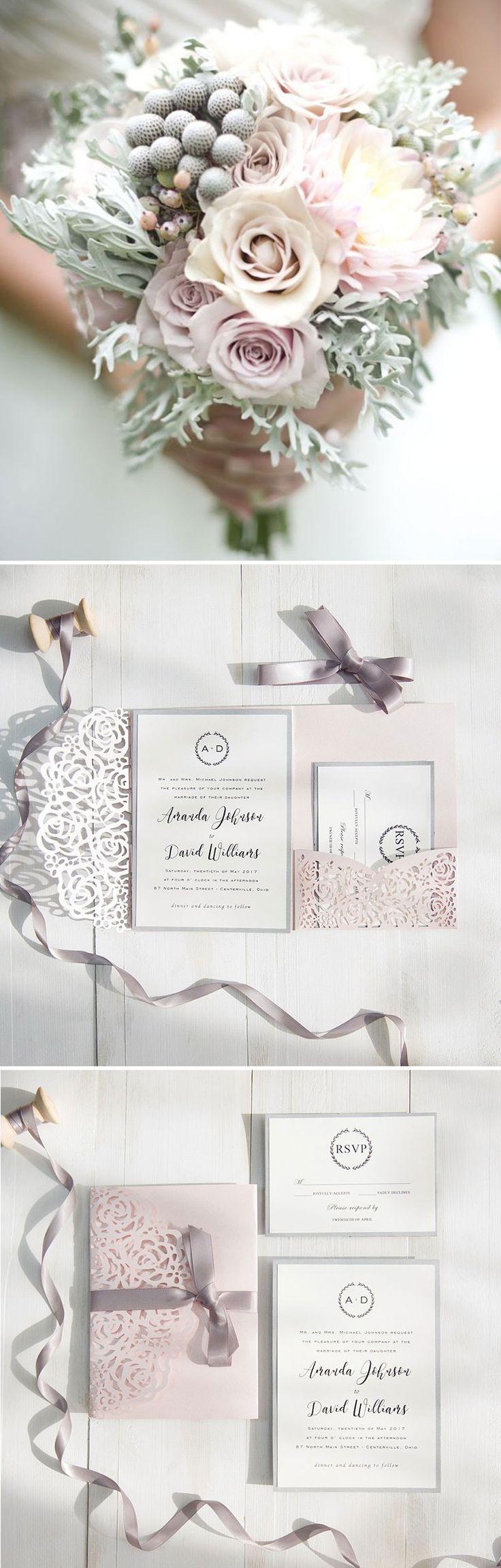 Blush Pink And Gray Laser Cut Pocket Wedding Invitations SWWS040