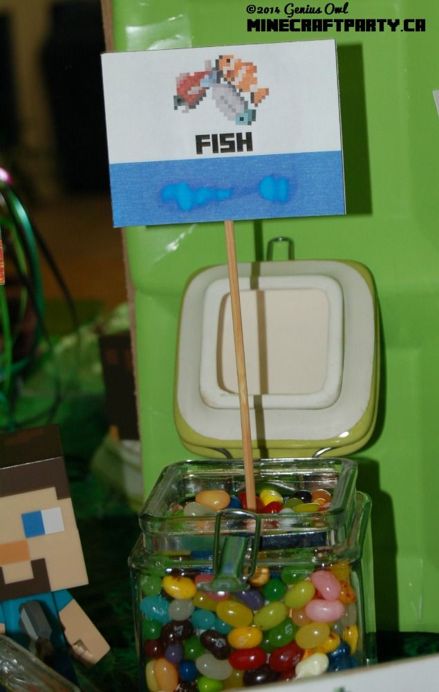Now it's getting Fishy! (one of the decorative/snack items in Genius Owl Minecraft Parties in Richmond Hill, ON)
