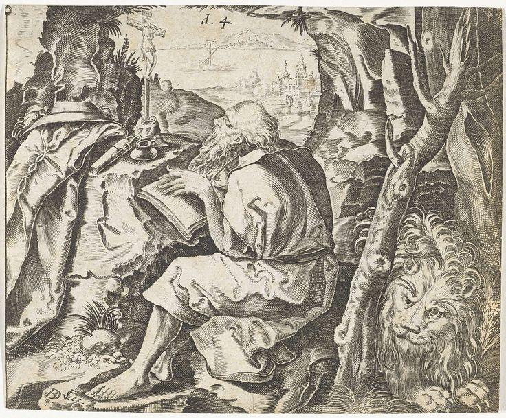 Bartholomeus Willemsz. Dolendo | H. Hieronymus schrijvend in zijn grot, Bartholomeus Willemsz. Dolendo, Claes Jansz. Visscher (II), 1589 - 1626 | De heilige Hieronymus zit schrijvend in zijn grot en kijkt naar een crucifix. In een hoek van de grot ligt de leeuw. Naast het crucifix ligt Hieronymus mantel en kardinaalshoed.