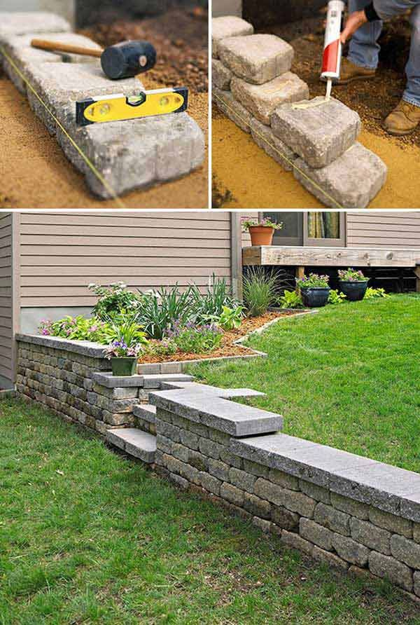 Construct a retaining wall with concrete blocks and then adorn it with stone facade;they varying heights add interest to the garden.