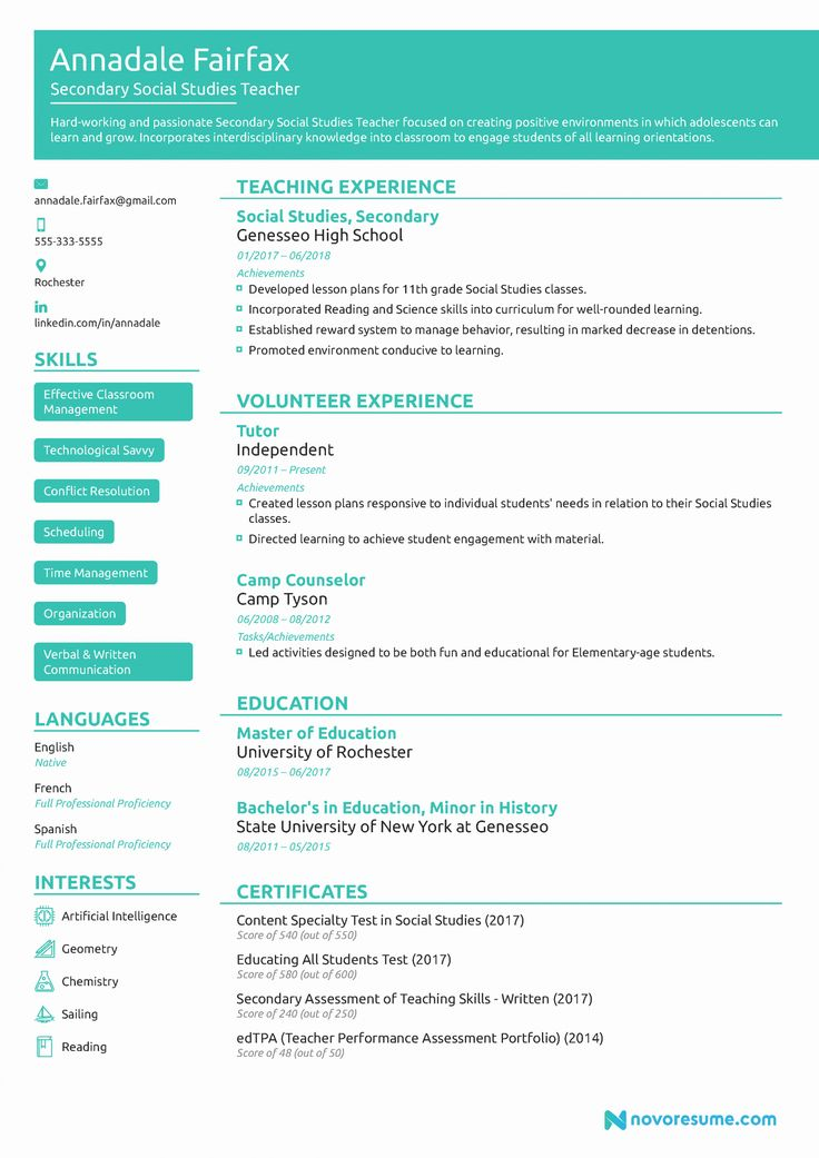 Resume template for educators fresh teacher resume example