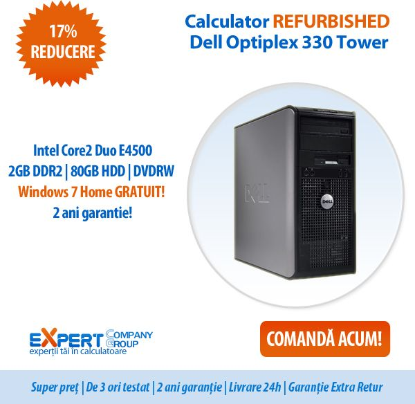 Dell Optiplex 330 Tower - productivitate si economie de energie intr-un design de incredere! Cumpara acum calculatorul REFURBISHED cu licenta Windows 7 Home GRATUITA si 2 ani garantie, la numai 500 de lei!