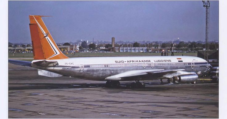 South African Airways (Suid-Afrikaanse Lugdiens), was known for luxurious in-flight services on its three 707-344s. ZS-CKC is seen here on push-back at London-Heathrow. Like other carriers, SAA later took advantage of Pratt & Whitney turbofan-powered Boeings, which were better suited to the airline's high-altitude destinations. The 707- 300B series offered maximum gross takeoff weights of 330,000 pounds. (Jon Proctor Collection)