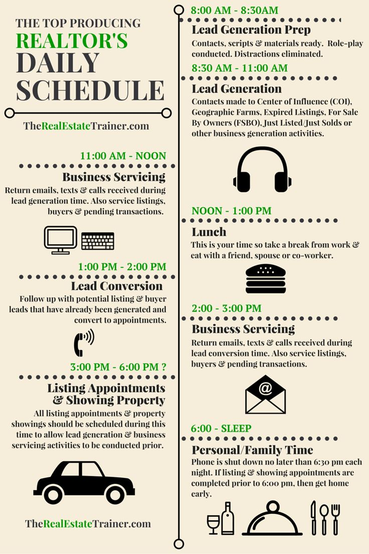 realtor daily schedule infographic