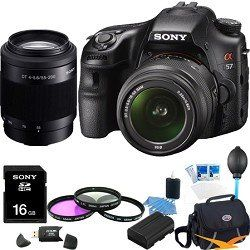 Review Cheap Sony Alpha SLT-A57K 16.1 MP Exmor APS HD CMOS Sensor DSLR with Translucent Mirror Technology 3D Sweep Panorama and 18-55mm Zoom Lens ULTIMATE Bundle with Sony 55-200 Telephoto Lens, Sony 16GB High Speed Card, Deluxe Filter Kit, Spare Battery, Padded Case