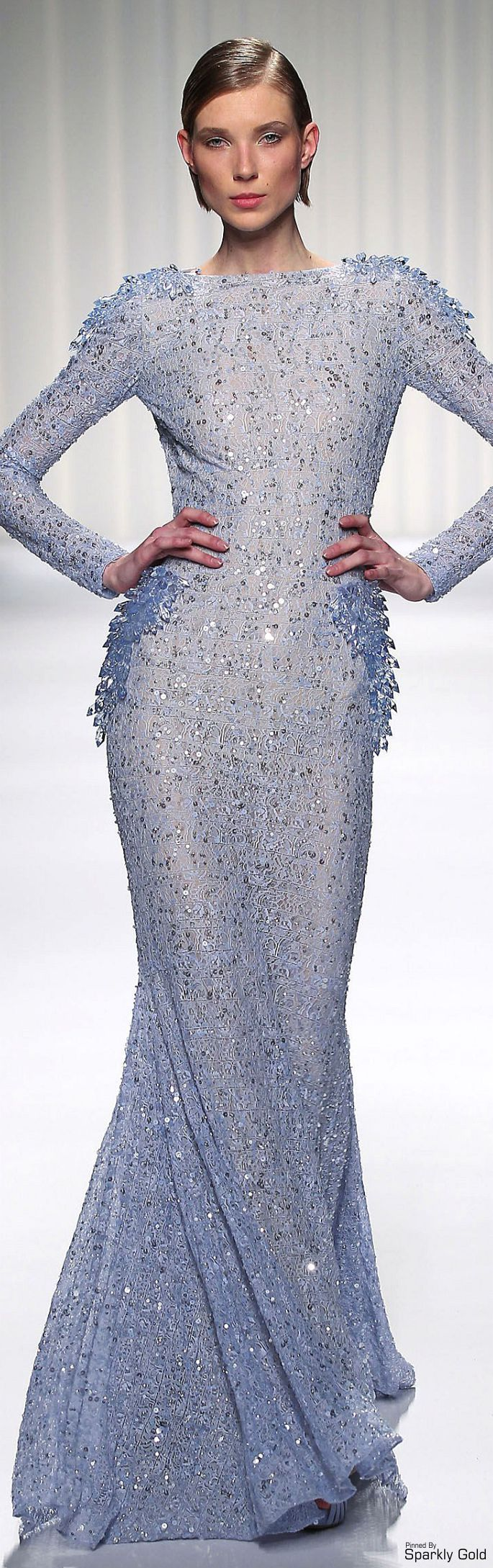 Abed Mahfouz ~ Couture Lavender Long Sleeve Sequin Embellished Gown 2015