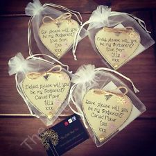 Personalised Handmade Wooden Heart/Godparent Gift/Will You Be My Godparent Gift