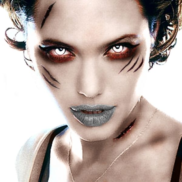Zombie makeover of Angelina jolie #makeup #contact lenses