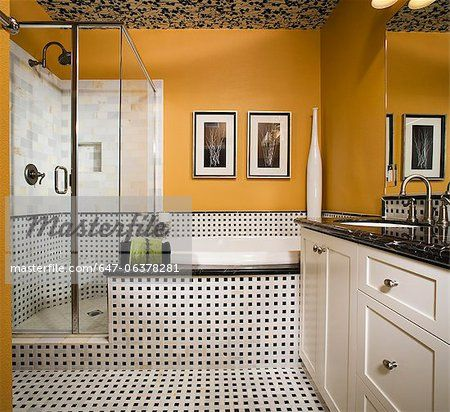 Contemporary Orange Bathroom with Black and White Tile  – Image © Masterfile.com: Creative Stock Photos, Vectors and Illustrations for Web, Mobile and Print