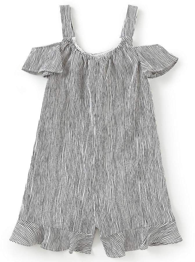 83155daaab77 GB Girls Little Girls 2T-6X Striped Ruffle Cold Shoulder Romper   neckline scoop fabrication