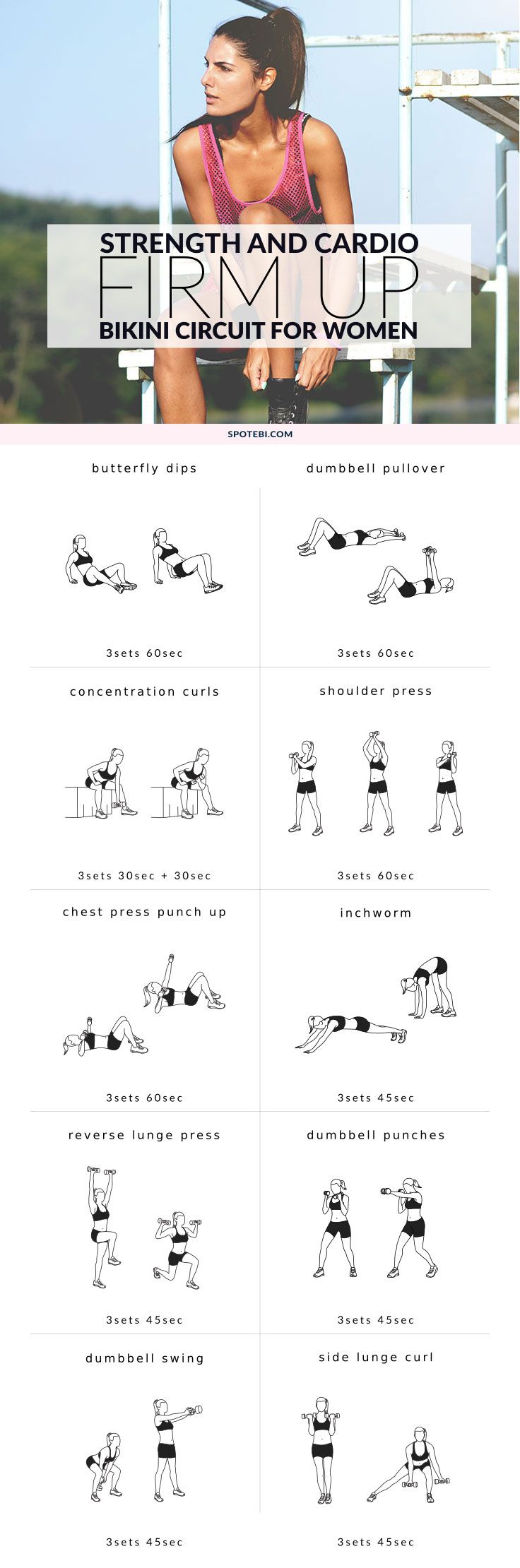 Look your best this summer and firm up your upper body with this 27-minute strength and cardio workout. This split circuit is designed to sculpt your shoulders, back and chest, get rid of flabby arms and reveal a sexy new you!