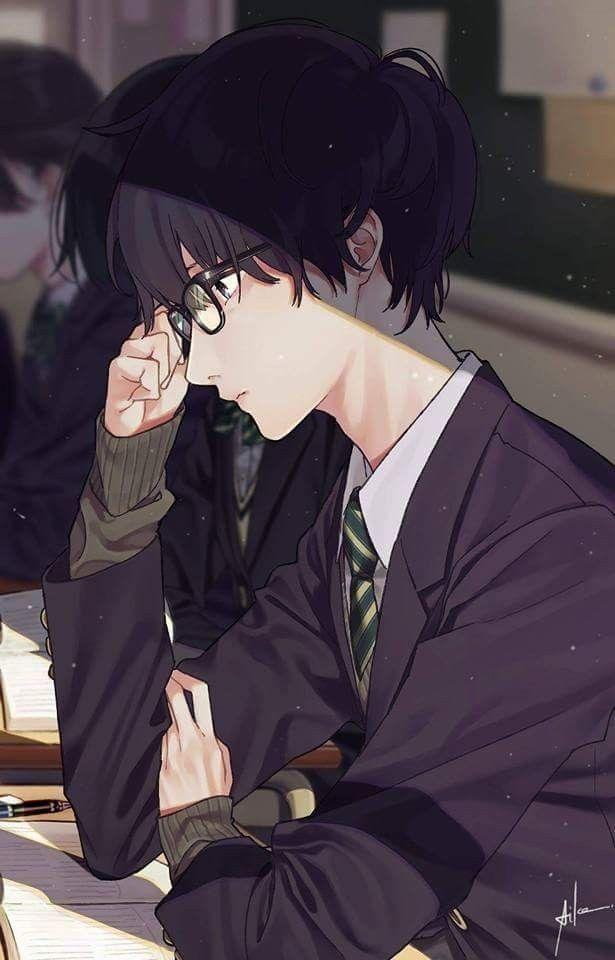 Anime Guy Glasses Kim Yoon Rei Ilustrasi Komik Ilustrasi Karakter Seni Anime