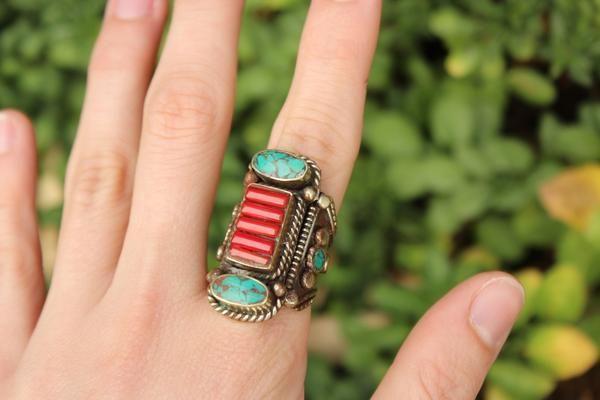 Tibetan tribal stone ring $19.95 USD   Tribal turquoise & coral bracelet $19.95   #tribalring #gypsyjewelry #hippiejewelry #bohoring