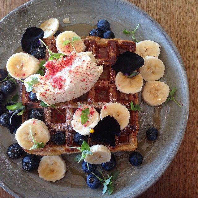 banana + blueberry wholemeal waffles, organic maple syrup, vanilla creme fraiche + strawberry dust @touchwoodcafe —- #touchwood #touchwoodcafe #bridgerd #richmond #melbourne #breakfast #brunch...