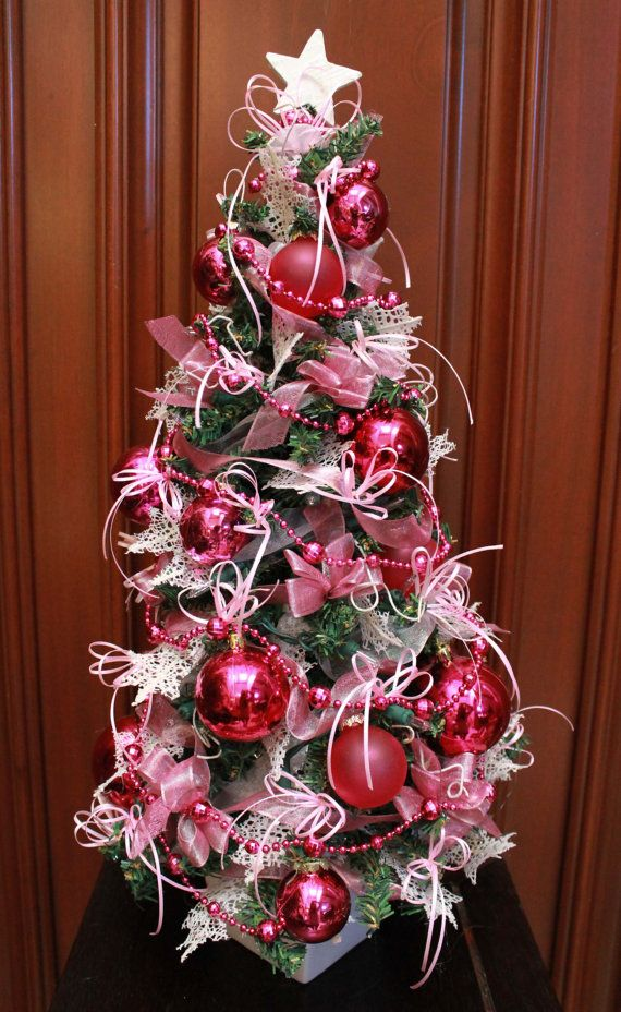 Tabletop Christmas Tree Pink W   Lights By Lilystouchofnature