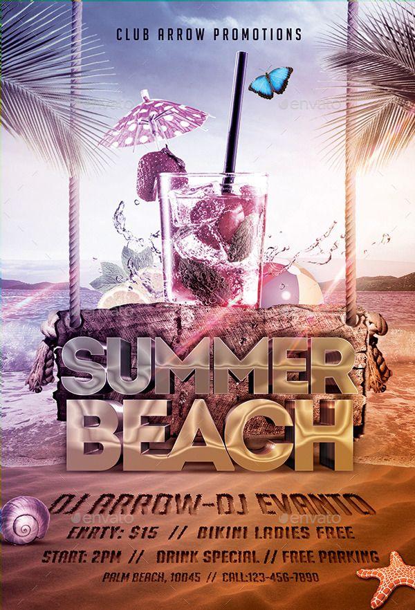 Summer Beach Party Flyer Template Summer Beach Party Beach Party
