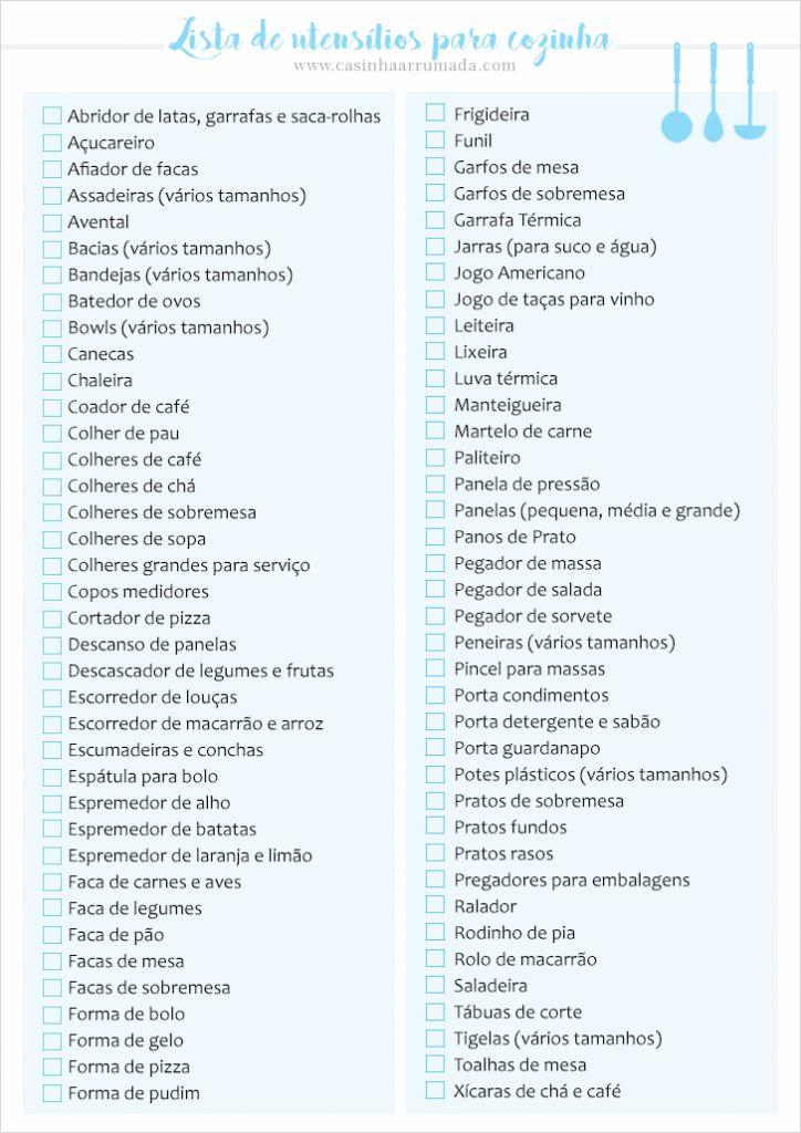 Lista de utensílios básicos para cozinha ou Lista de chá de panela