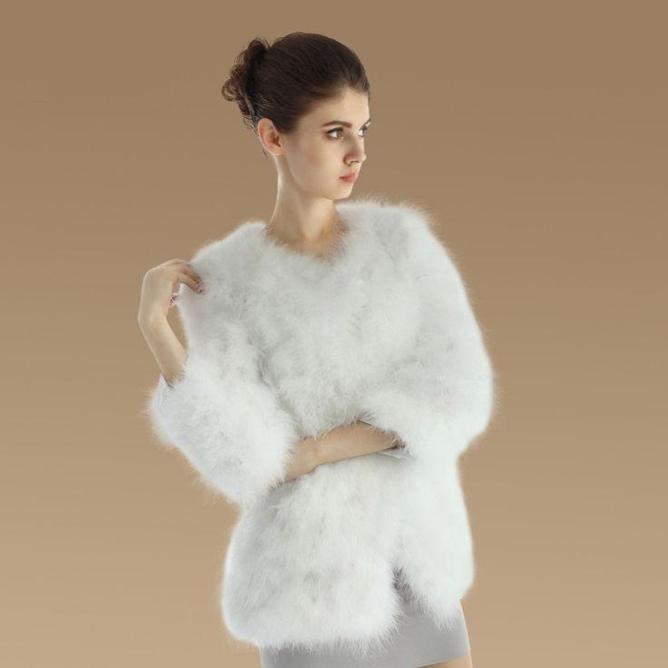 Kožešinové zboží | Kožešinové kabátky a kabáty | Dámský kabátek z pravého pštrosího peří - bílý | E-shop Paráda