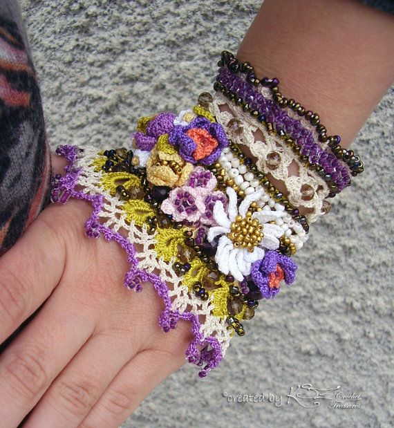 Crochet cuff Crochet bracelet Beaded cuff by KSZCrochetTreasures
