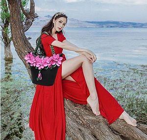 KAXIDY Damen PU Leder Handtasche mit wunderschönen großen Blüten #romantisch #lackleder