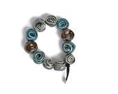 Blue roses ceramic bracelet. Handmade in Italy.