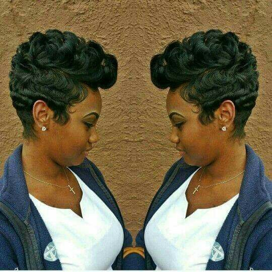 Short Girl Hairstyles Sweet Monica Natural Mohawk Pixie Haircuts Black Hair Cut