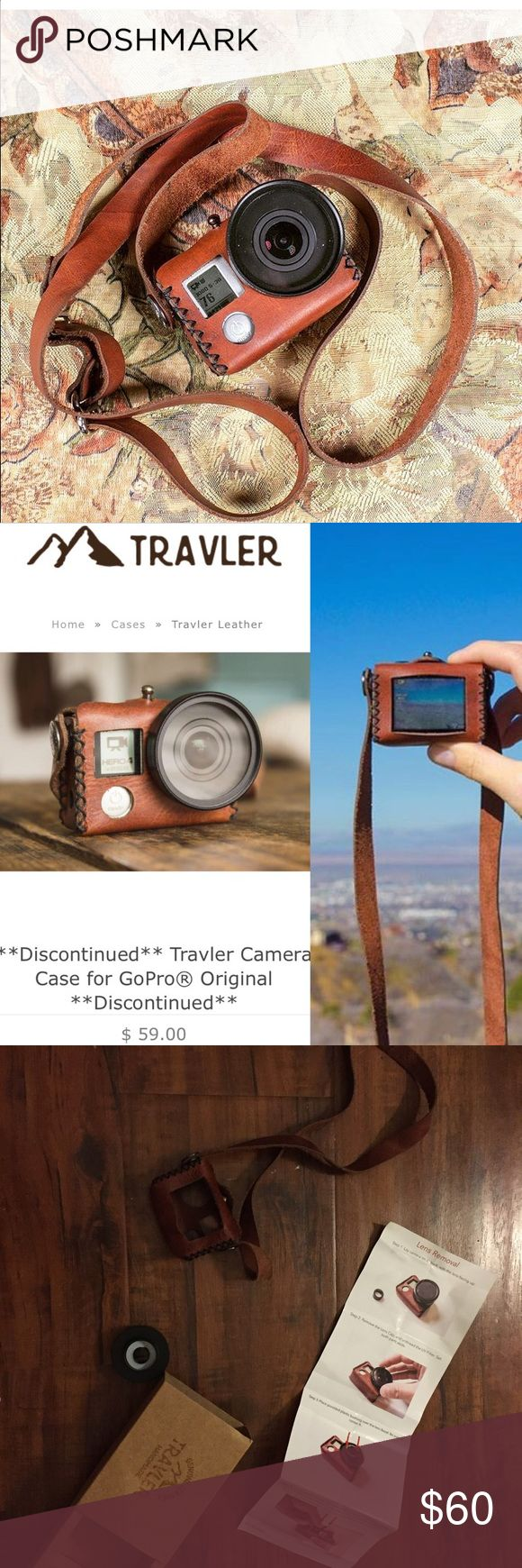 Travel Leather GoPro Hero 4 leather case The original Travel Leather GoPro case (discontinued now) the orange brown leather color. In original box! A vintage-inspired hand stitched leather case designed to carry your GoPro® -premium top grain leather. Fits Hero 4 silver. 40.5mm Lens Filter Adapter included. I used it once but sold my GoPro so no use for it now! (GOPRO NOT INCLUDED ) travel leather Accessories